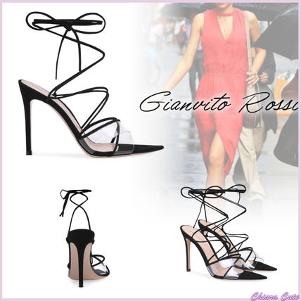 Open Toe Lace-up Suede Plain Pin Heels Elegant Style