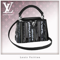 Louis Vuitton CAPUCINES Blended Fabrics 2WAY Leather Elegant Style Handbags