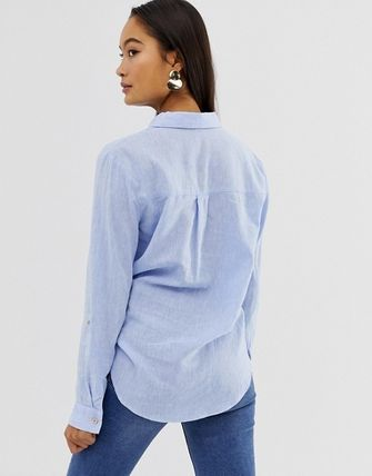 Linen Plain Medium Elegant Style Shirts & Blouses