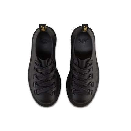 Platform Round Toe Lace-up Casual Style Plain Leather Shoes