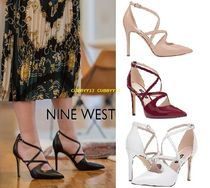 Nine West Plain Leather Pin Heels Elegant Style Stiletto Pumps & Mules