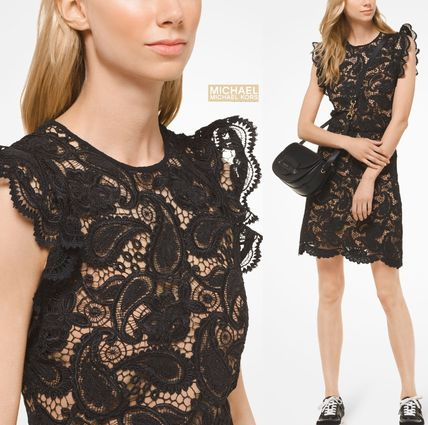 Flower Patterns Paisley Sleeveless Party Style Lace Dresses