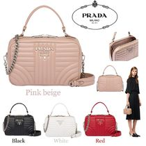 PRADA DIAGRAMME Casual Style Calfskin 2WAY Chain Shoulder Bags