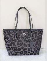 Coach Leopard Patterns A4 Leather Office Style Totes
