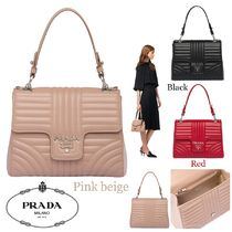 PRADA DIAGRAMME Calfskin 2WAY Chain Plain Elegant Style Handbags