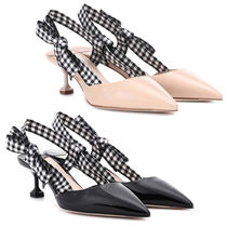 MiuMiu Wedge Enamel Plain Office Style Pointed Toe Pumps & Mules