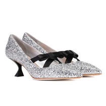 MiuMiu Wedge Leather Party Style Pointed Toe Pumps & Mules