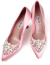 MiuMiu Wedge Party Style Pointed Toe Pumps & Mules