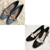 MiuMiu Round Toe Enamel Plain Block Heels Office Style