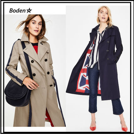 Union Jack mark Plain Medium Elegant Style Trench Coats