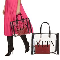 VALENTINO Blended Fabrics Studded Leather Crystal Clear Bags Totes