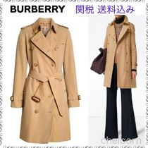 Burberry THE KENSINGTON Other Check Patterns Casual Style Medium Trench Coats
