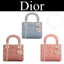 Christian Dior LADY DIOR Casual Style Lambskin Blended Fabrics Street Style 2WAY