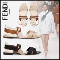 FENDI Round Toe Casual Style Blended Fabrics Sandals