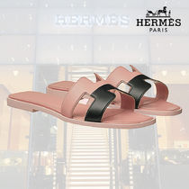 HERMES Oran Open Toe Blended Fabrics Street Style Bi-color Plain Leather
