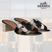 HERMES Open Toe Blended Fabrics Other Animal Patterns Leather
