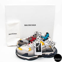 BALENCIAGA Triple S Unisex Street Style Bi-color PVC Clothing Oversized Sneakers