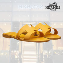 HERMES Oran Open Toe Blended Fabrics Plain Leather Home Party Ideas