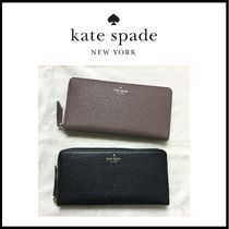 kate spade new york Plain Leather Long Wallets