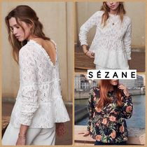 SEZANE Flower Patterns Peplum Long Sleeves Cotton Medium