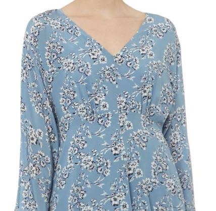 Wrap Dresses Flower Patterns Silk V-Neck Long Sleeves Medium