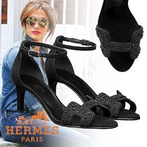 HERMES Open Toe Blended Fabrics Plain Leather Pin Heels With Jewels