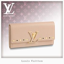 Louis Vuitton CAPUCINES Blended Fabrics Studded Leather Long Wallets