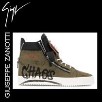 GIUSEPPE ZANOTTI Blended Fabrics Studded Street Style Leather Sneakers