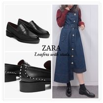 ZARA Casual Style Studded Loafer Pumps & Mules