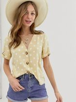 ASOS Dots Casual Style Short Sleeves With Jewels Shirts & Blouses