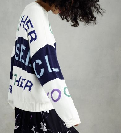 Crew Neck Long Sleeves Cotton Oversized Sweaters