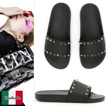 VALENTINO Open Toe Studded Shower Shoes PVC Clothing Flat Sandals
