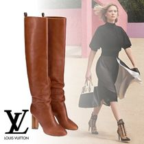 Louis Vuitton Plain Toe Plain Leather Elegant Style High Heel Boots