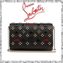 Christian Louboutin Paloma Studded Leather Chain Wallet Long Wallets