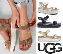 UGG Australia Open Toe Rubber Sole Casual Style Blended Fabrics Plain