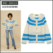 ALEXACHUNG Stripes Casual Style Long Sleeves Plain Medium Angola