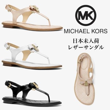 nice shoes size 7 how to buy Michael Kors 2019 SS Open Toe Rubber Sole Casual Style Plain Leather Sandals