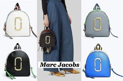 Casual Style Street Style Bi-color Plain Leather Backpacks
