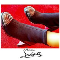 Christian Louboutin Round Toe Blended Fabrics Studded Bi-color Plain Leather