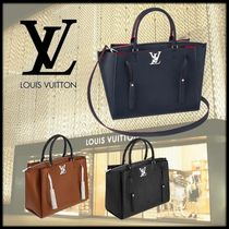 Louis Vuitton LOCKMETO Tassel A4 3WAY Plain Leather Elegant Style Totes
