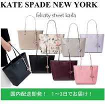 kate spade new york A4 Plain Leather Office Style Elegant Style Totes