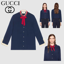 GUCCI Silk Long Sleeves Plain Medium Office Style Shirts & Blouses
