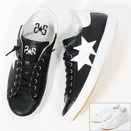 Star Unisex Street Style Plain Leather Sneakers