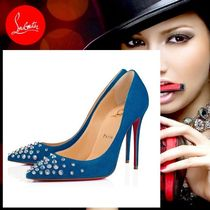 Christian Louboutin Velvet Studded Pin Heels With Jewels Elegant Style