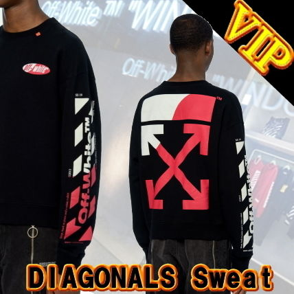 Off-White Sweatshirts Crew Neck Unisex Street Style Long Sleeves Cotton 2