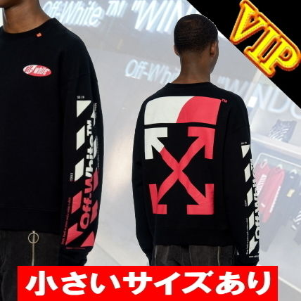 Off-White Sweatshirts Crew Neck Unisex Street Style Long Sleeves Cotton