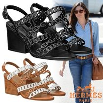 HERMES Chaine dAncre Open Toe Chain Plain Leather Block Heels Elegant Style