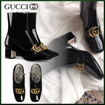 GUCCI Leather Elegant Style Ankle & Booties Boots