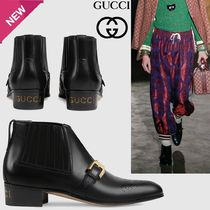 GUCCI Plain Leather Chunky Heels Ankle & Booties Boots