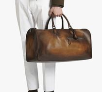 Berluti Street Style A4 Plain Leather Boston Bags
